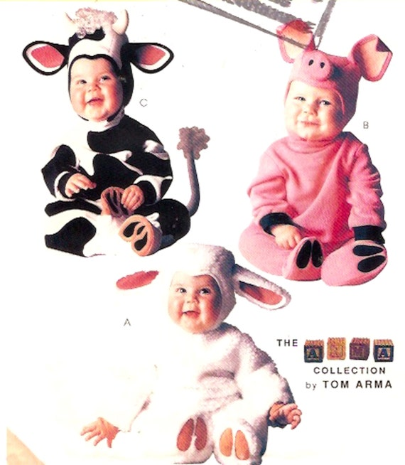 cow pig lamb toddler halloween costume adorable baby outfits sewing pattern mccalls p315 tom arma costume pattern sz half to 2 uncut from heychica on etsy - Baby Halloween Costume Patterns