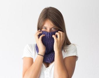 Asymmetric purple neckwarmer knitted collar neckwarmer cowl circle scarf