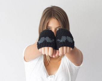 Black fingerless gloves with a moustache texting gloves hand mittens wrist warmers short knit gloves hand knit gloves
