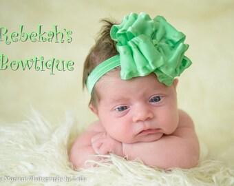Mint baby headband, mint green baby headband, double ruffle headband, double ruffle bows, double ruffle hair bows, green headband, infant