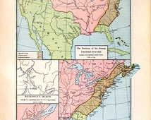 1888 Historical Map - Antique Map - Territory of the United States During the French Indian Wars 1755-1763 - 11 x 8 World Atlas Map