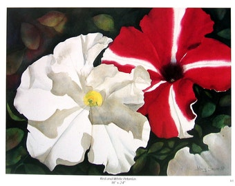 Flower Print - Red and White Petunias - Botanical Print -1996 Naturalist Book Page - 12 x 9