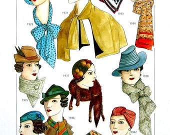 Mid 1900's Fashion Design - Women's Capes, Scarves, Gloves, Belts - 1920's to 1940's - Reference Material -1993 Vintage Book Page - 9.5 x 8