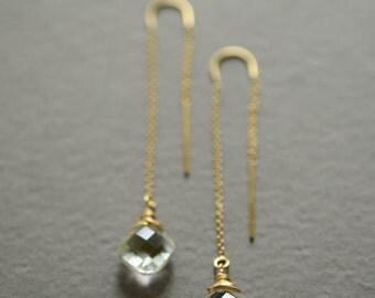 Clear quartz earrings cushion cut earrings quartz threader earrings gold quartz thread through earrings bridal earrings wedding jewelry