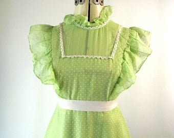 1970s Maxi Dress Green Swiss Dot Sleeveless High Waisted Hippie Bohemian Fairy Dress XS