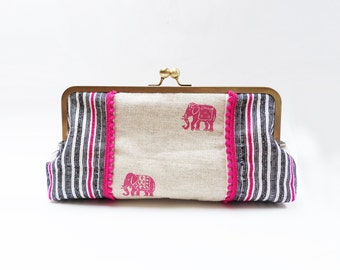 Clutch bag, pink elephant fabric, cotton handbag