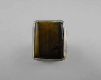 Gorgeous large Tiger's Eye Sterling Silver Statement Ring