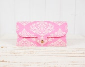 iPhone SmartPhone Clutch Wallet Purse 12 Card Slots with ID Pocket / Park Fountain in Pink -- Ready to Ship