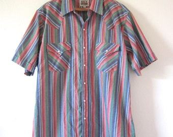 Vintage 60s 70s Ely Cattleman Striped Short Sleeved Western Snap Button Shirt (size large)