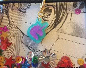 last one !!! FAUXDORI CHARM pastel gliterry unicorn acrylic laser cut