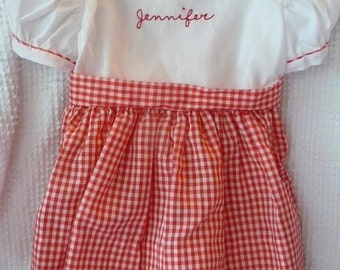 Vintage Toddler Red and White Gingham Dress with embroidered name Jennifer -  pristine condition