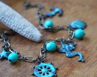 Nautical charm bracelet // lovely natural blue green verdigris finish // B013