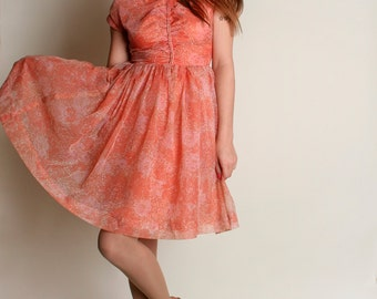 Vintage 1960s Dress - Peach Floral Sheer Chiffon Party Dress - Small