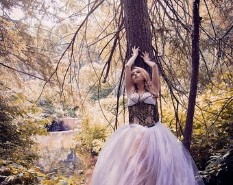 Woodland Queen tutu tulle skirt 8ft trail fairytale fantasy wedding white antique gold steampunk noir bridal -All Sizes- Sisters of the Moon