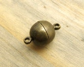10mm Round Magnetic Clasp - Solid Brass - Antique Bronze Finish - SUPER STRONG - Patina Queen - Choose Your Amount