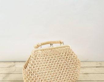 1960s Straw Purse --- Vintage Cream Bag