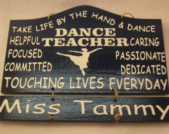 Personalized Wooden Dance Teacher Wall Hanging with 2 name plates