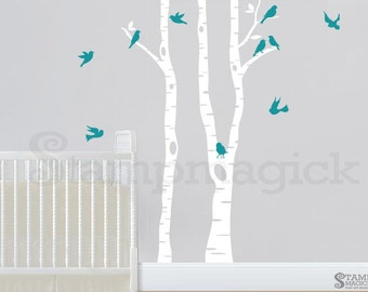 Birch Trees Wall Decal for Baby Nursery with Birds - Removable Vinyl Wall Art Sticker - Tree Forest Home Decor - K268