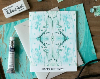 Greeting Card HAPPY BIRTHDAY Tiled Aqua Marble / Marble Pattern I