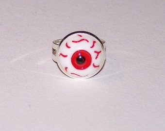 red iris eyeball ring, silver plated