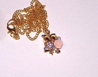 tiny gold-plated owl necklace with rhinestones and a little pink rose