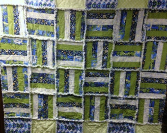 "Rag Quilt Blanket Modern Peaceful Planet Fabric Collection 60"" X 60"" Cotton Green Blue White Baby Toddler Shabby Chic"