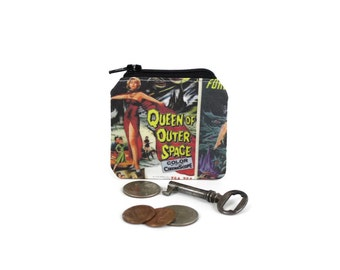 Retro Pulp Sci Fi Coin Pouch / Funky Coin Bag / Vintage Aliens Books and Movies