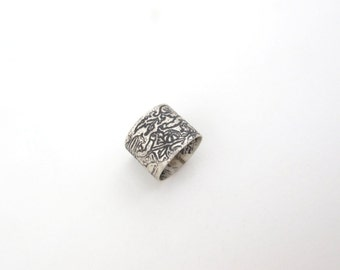 "Book header ring with kids playing with a snail from  ""Waifs and Strays of Natural History""  - Sterling silver band"