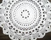 "White Crochet Doily Rug 36"" Round Pineapple Pattern Non Skid"