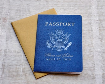Passport Wedding Invitation Design Fee (US Traditional Emblem with Antique Gold Envelope)