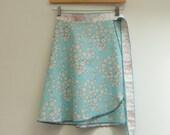 Blue Starbursts Short Skirt, Wrap Skirt, Mini Skirt, Short Wrap Skirt, One Size Fits Many