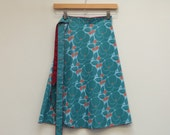 M/L Wrap Skirt Teal-Green, Baby Blue and Red, Knee Length Skirt, Cotton Skirt, A Line Skirt, Multi Size, Modest