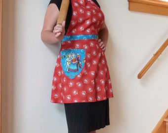 Day Of The Dead Full Apron, Los Muertos, Domestic Goddess, Retro Style, Kitchen, Cooking, Baking, Chef, Vintage Style