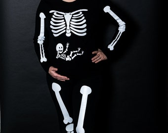 Full Body Mommy & Baby Arms Legs Pregnant Skeleton Iron On for DIY Halloween Maternity Costume