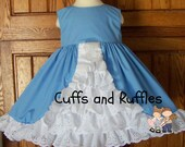 Amber Dress. Cinderella Blue with white ruffled inset.