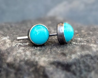 Sleeping Beauty Turquoise Post Earrings, Sterling Silver Posts, Bezel Set, Oxidized Turquoise Studs