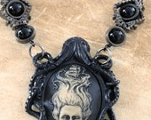 Goth Jewelry - Necklace -Black Octopus with Lady of the sea Cameo and Black Onyx
