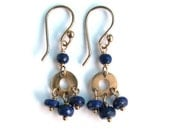 Genuine Natural Lapis Lazuli Mini Chandelier Earrings in Bronze - Navy Blue and Gold - Boho Chic Dangle Earrings - Modern Romance