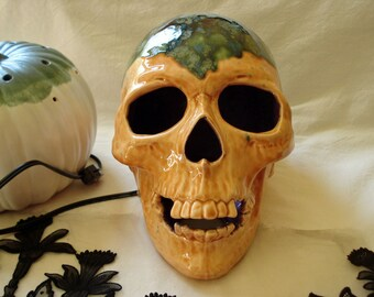 Ceramic Skull with green mossy cap and everchanging color LED bulb