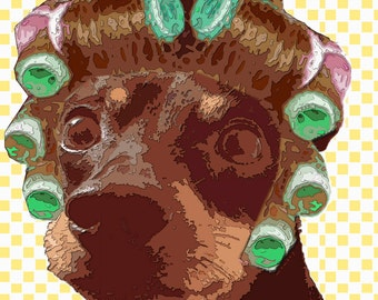 dog in rollers  Art Print by Giraffes and Robots