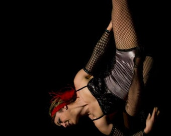 Trapeze Costume with Bustle Skirt, Black Lace Aerial Leotard, Custom