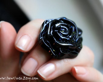 Mourning Flower Ring, Goth Rose Ring, Black Rose Ring, Flower Jewelry, Black Statement Ring, Floral Bohemian Rose Jewelry by isewcute