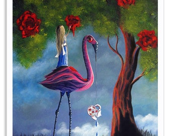 Alice In Wonderland Fine Art Prints, giclee, signed, fantasy, fairytale, whimsical art, surrealism, wall art, roses red, stories, matte