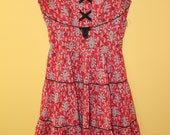 Fixer Upper Red Floral Paisley Cotton Full Skirted Vintage 1950s Dress XS B34