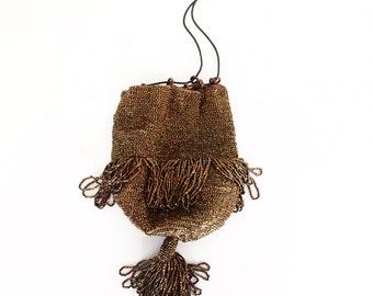 20s Shimmering Bronze Beaded Flapper Bag with Looped Fringe