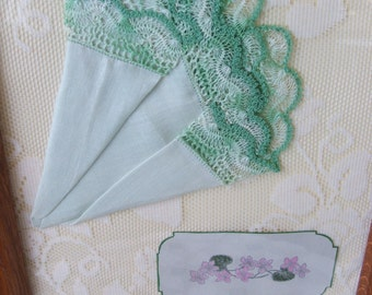 vintage hanky lace and violets framed