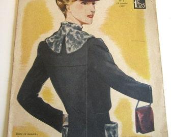 1930's Vintage French Magazine La Mode Pratique January, 1939 WWII Fashion and Sewing