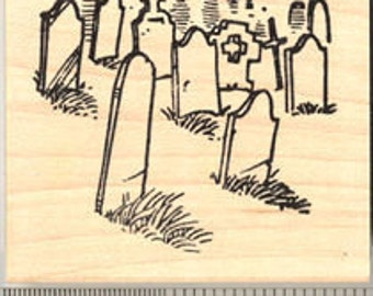 Halloween Cemetery At Night Rubber Stamp G7408 Wood Mounted
