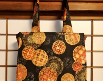 Japanese Tote Bag with Elegant Balls, Christmas in Kyoto, Black, Red and Gold TIGHT 'N' TIDY Tote Bag Folding Reusable Shopping Bag, Spheres