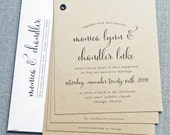 Monica Kraft Booklet Wedding Invitation Sample - Black Calligraphy Font, Rustic Wedding Invitation